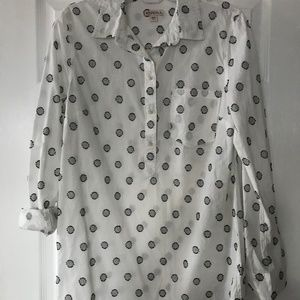 White Popover Blouse with Polka Dots Medium